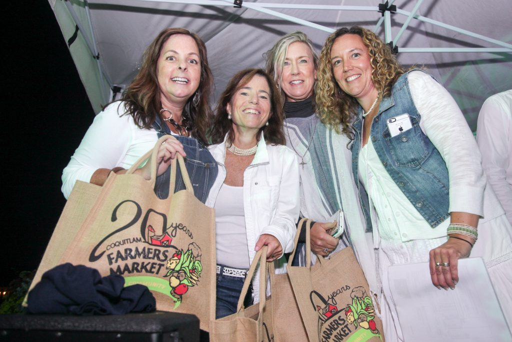 "Hosts Diana, Selina and Polly (""The Divas"") with Tabitha McLoughlin (Executive Director, Coquitlam Farmers Market) at the Long Table Dinner. This sold-out event celebrated the 20th anniversary of the Coquitlam Farmers Market and raised funds for a great cause."